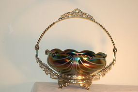 Rindskopf Bohemian glass Loetz-type bowl on stand C:1900