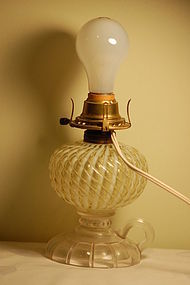 Sheldon antique swirled glass lamp C:1880