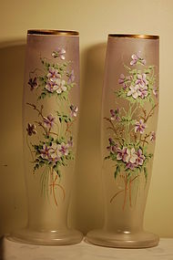 Pair Mont Joye hand painted large French glass vases C:1900