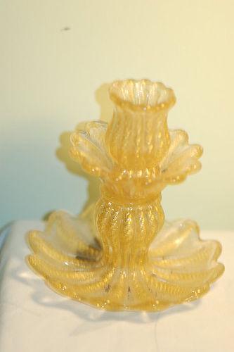 Barovier & Toso Murano glass Corodonato Oro Candlestick C:1950