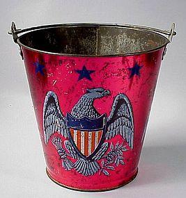 Patriotic Ohio Art Tin Litho Childs Sand Pail