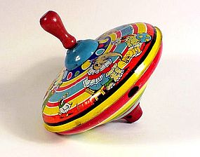 Vintage Chein Tin Litho Circus Spinning Top Toy