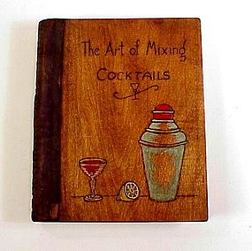1920s Wooden Cocktail Mixing Recipe Box