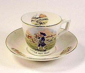 Art Deco Little Boy Blue Child's Porcelain Cup & Saucer