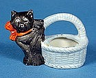Bisque Halloween Black Cat Candy Containers