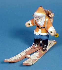1920s-30s Bisque Santa on Skis Figurine
