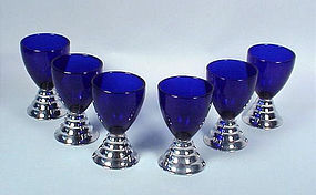 6 Chase Art Deco �Blue Moon� Cocktail Glasses