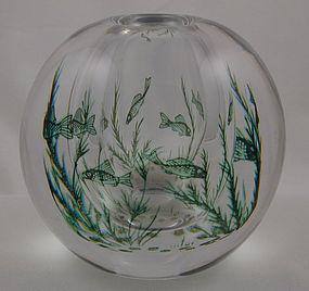 Orrefors Signed Graal (Fishgraal) Vase