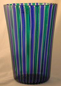 Signed Venini Murano Canne Vase in Blue/Green