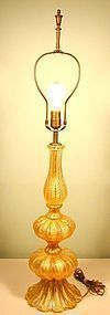Barovier & Toso Tall Cordonato d'Oro Table Lamp