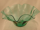 Blenko Ruffled Bowl in Seagreen