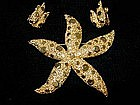 Starfish Pin and Earring Set by CORO