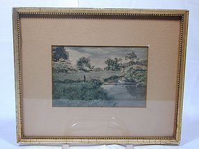Framed Hand-tinted Photograph