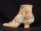 RS PRUSSIA Porcelian Shoe with Roses and Gold trim