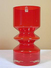 Riihimaen Riihimaki Lasi Vase in Red