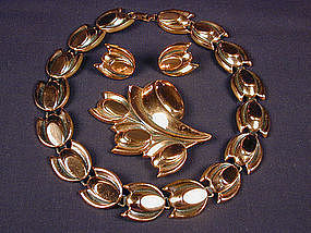 Renoir Copper Necklace, Pin, Earring Demi Parure