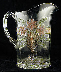 Indiana Glass Water Pitcher Decorated Narcissus Spray