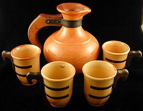 Gladding-McBean El Patio Carafe with 4 cups