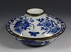 CHINESE VIETNAMESE MARKET B/W BOWL AND COVER 19thC