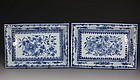 PAIR CHINESE BLUE AND WHITE TRAYS QIANLONG C1760