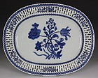 FINE CHINESE BLUE AND WHITE RETICULATED DISH QIANLONG