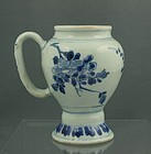 CHINESE TRANSITIONAL BLUE AND WHITE MUSTARD POT 17THC