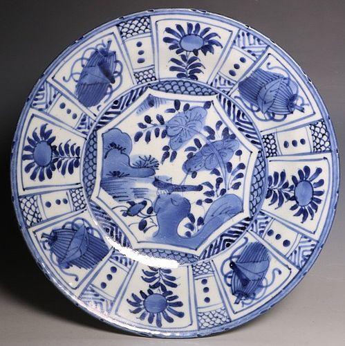 JAPANESE ARITA BLUE AND WHITE DISH L17THC