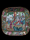 EARLY 19TH C. FAMILLE ROSE / CANTON ROSE MEDALLION DISH