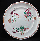 18TH C QIANLONG PERIOD FAMILLE ROSE FLORAL PLATE