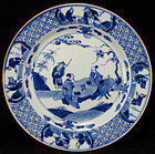 18TH C KANGXI BLUE AND WHTIE FIGURAL PLATE