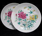 PAIR OF REPUBLIC PERIOD FAMILLE ROSE FLORAL DISHES