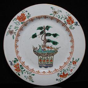 18TH C KANGXI FAMILLE VERTE / WUCAI PENJING PLATE
