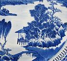 19TH C BLUE & WHITE LANDSCAPE PLATE, KANGXI MARK