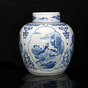 19TH C BLUE AND WHITE QILIN & LANDSCAPE COVERED JAR