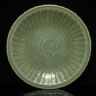 14/15TH C MING LONGQUAN CELADON INCISED FLORAL CHARGER