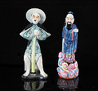 EARLY 20TH C REPUBLIC PERIOD ENAMELED FIGURES / STATUES