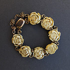 ANTIQUE CHINESE 14K GOLD CARVED FLORAL BRACELET