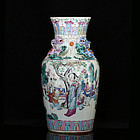 19TH C TONGZHI - GUANGXU FAMILLE ROSE FIGURAL VASE