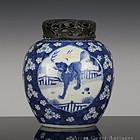 18TH KANGXI BLUE & WHITE RUISHOU AUSPICIOUS BEASTS JAR