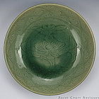 16th 17th C Carved Late Ming Longquan Celadon Charger
