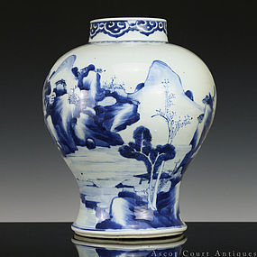 18th C Kangxi Blue and White Landscape Porcelain Jar