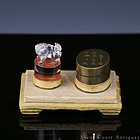 19TH C QING SCHOLAR'S ROCK CRYSTAL SEAL & PAKTONG PASTE BOX