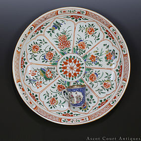 35 cm LARGE 18TH C KANGXI FAMILLE VERTE FLORAL CHARGER PLATE