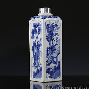 18TH C KANGXI BLUE AND WHITE FIGURAL SQUARE BOTTLE VASE