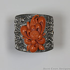 19TH C LATE QING SILVER & SALMON CORAL BRACELET, LARGE 78.5 G