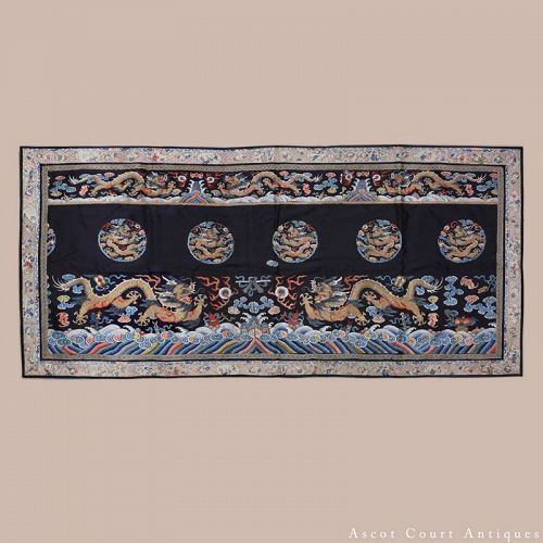 19TH C QING GOLD EMBROIDERED SILK DRAGON PANEL, CHAOFU SKIRT