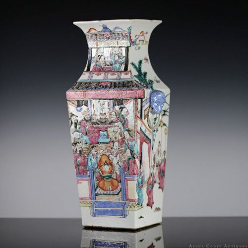 19TH C QING TONGZHI FAMILLE ROSE FIGURAL SQUARE PORCELAIN VASE