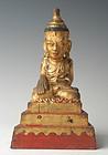 18th Century, Tai Yai, Burmese Wooden Seated Buddha