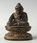 A Burmese Carved Wooden Lotus Buddha