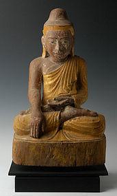 Early 19th C., Burmese Wooden Seated Buddha